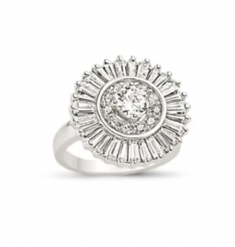 Ladies Silver Large Round Cluster Ring